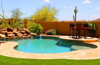 Pool. Blue, holidays.