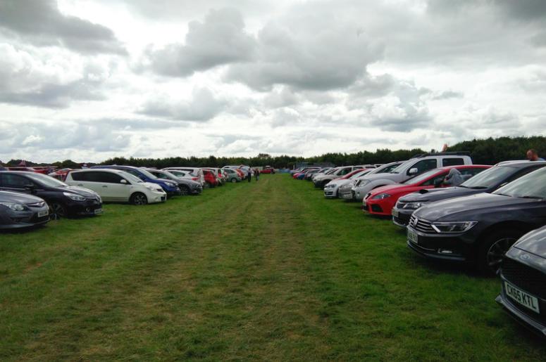 Parking lot on grass