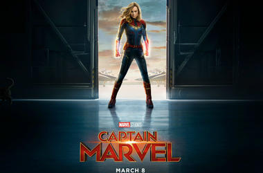 Movie poster for Marvel Studios' 'Captain Marvel' starring Brie Lason
