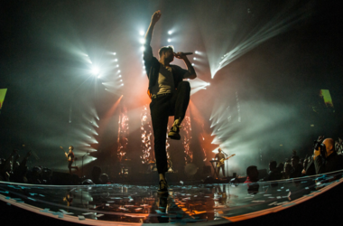 Dan Reynolds of Imagine Dragons performs live on stage at the Genting Arena in Birmingham