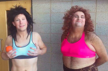 Riggs and Gibbons in sports bras