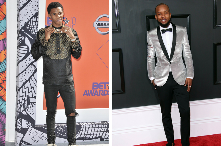 A Boogie wit da Hoodie arrives at the 2018 BET Awards held at the Microsoft Theater in Los Angeles, CA on Sunday, June 24, 2018. /Feb 12, 2017; Los Angeles, CA, USA; Tory Lanez arrives at the 59th Annual Grammy Awards at Staples Center.