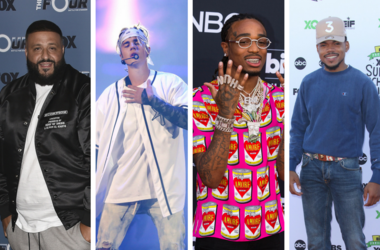 """DJ Khaled and Sean """"Diddy"""" Combs at Fox's """"The Four: Battle for Stardom"""" Season 2 red carpet at CBS Radford Studios on May 30, 2018 in Studio City, California. / Justin Bieber performs at Allstate Arena on Friday, April 22, 2016 in Rosemont, Ill. / Quavo"""