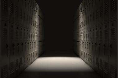 Dark school corridor
