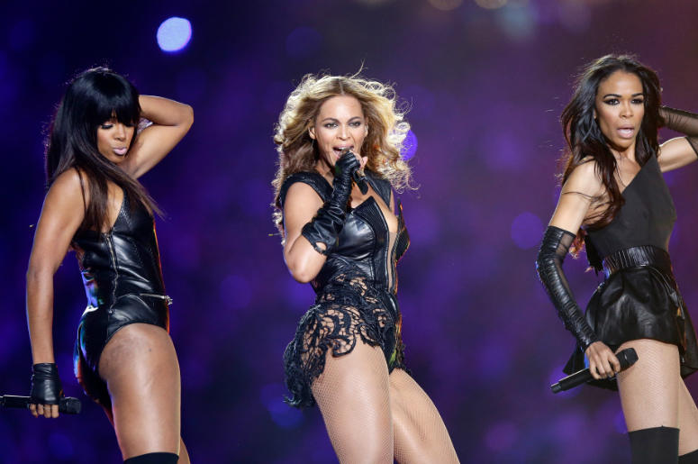 Kelly Rowland, Beyonce and Michelle Williams perform during the Pepsi Super Bowl XLVII Halftime Show