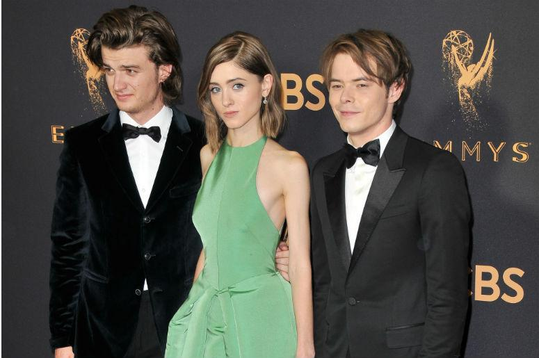 (L-R) Actors Joe Keery, Natalia Dyer and Charlie Heaton at the 69th Annual Emmy Awards held at the Microsoft Theater on September 17, 2017 in Los Angeles, CA, USA