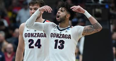 Josh Perkins and Corey Kispert of Gonzaga celebrate during a win over Florida State in the 2019 NCAA Tournament.