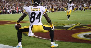 Pittsburgh Steelers wide receiver Antonio Brown (84) does a celebration dance in the end zone after scoring a touchdown against the Washington Redskins in the third quarter at FedEx Field.