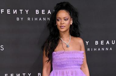 Rihanna arriving at the Fenty Beauty By Rihanna Party, Harvey Nichols, Knightsbridge, London.