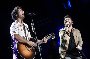 June 7 2018; Nashville, TN, USA; Dan + Shay performs during the 2018 CMA Music Festival.