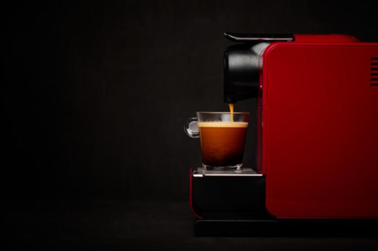 Keurig machine brewing coffee