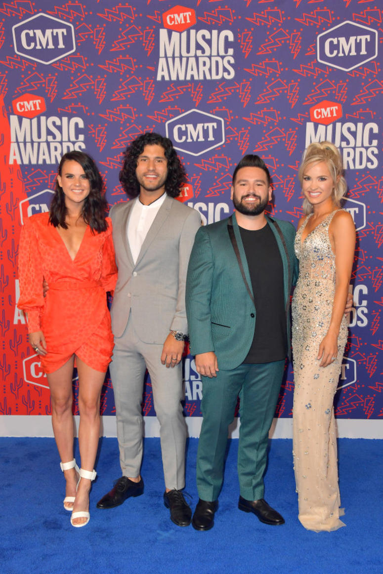 Abby Law, Dan Smyers and Shay Mooney of Dan + Shay, and Hannah Billingsley attend the 2019 CMT Music Awards at Bridgestone Arena on June 05, 2019 in Nashville, Tennessee
