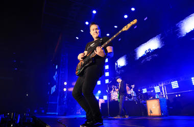 Mark Hoppus of blink-182 performs onstage at KROQ Weenie Roast 2018 at StubHub Center on May 12, 2018