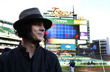 Detroit native and musician Jack White watches batting practice prior to the start of Game 3 of the 2012 World Series