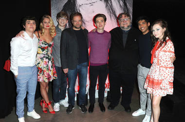 """Austin Zajour, Natalie Ganzhorn, Gabriel Rush, Andre ¯vredal, Austin Abrams, Guillermo del Toro, Michael Garza and Zoe Colletti attend """"Scary Stories To Tell In The Dark"""" trailer launch and footage presentation on March 28, 2019 in Los Angeles, CA"""