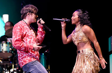 Rivers Cuomo of Weezer and Rozonda 'Chilli' Thomas of TLC perform at Coachella Stage