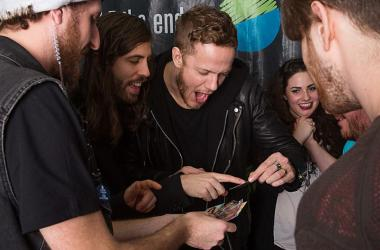 Dan and Imagine Dragons lol about trading cards