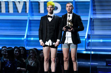 Twenty One Pilots accepts Best Pop Duo Group Performance during the 59th Annual Grammy Awards at Staples Center