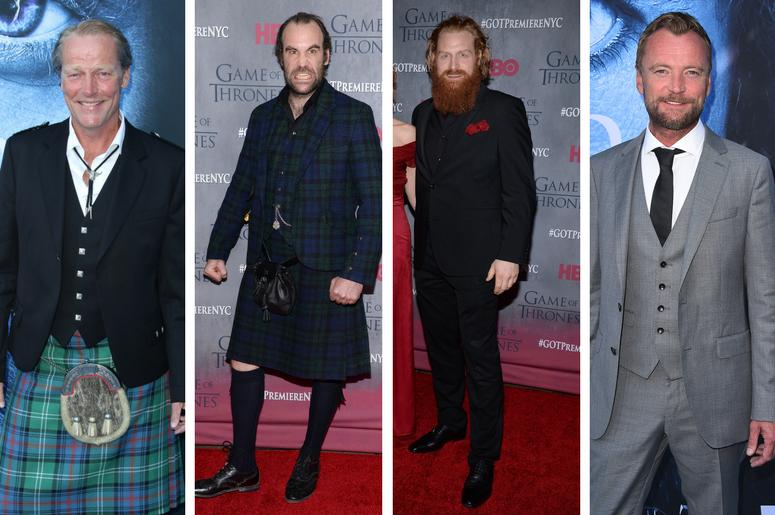 "Tormund (Kristofer Hivju), Sandor ""The Hound"" Clegane (Rory McCann), Ser Jorah (Iain Glen) and Beric (Richard Dormer) of Game of Thrones"