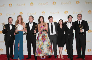 The Cast of Breaking Bad in the Press Room as 'Breaking Bad' Wins Best Drama Series at the 66th Prime Time Emmy Awards
