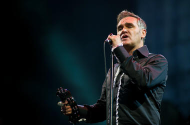 Morrissey performs live on the pyramid stage during the Glastonbury Festival at Worthy Farm, Pilton on June 24, 2011