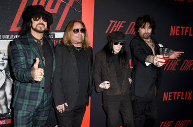 Nikki Sixx, Vince Neil, Mick Mars and Tommy Lee of Motley Crue arrive at the premiere of Netflix's 'The Dirt'