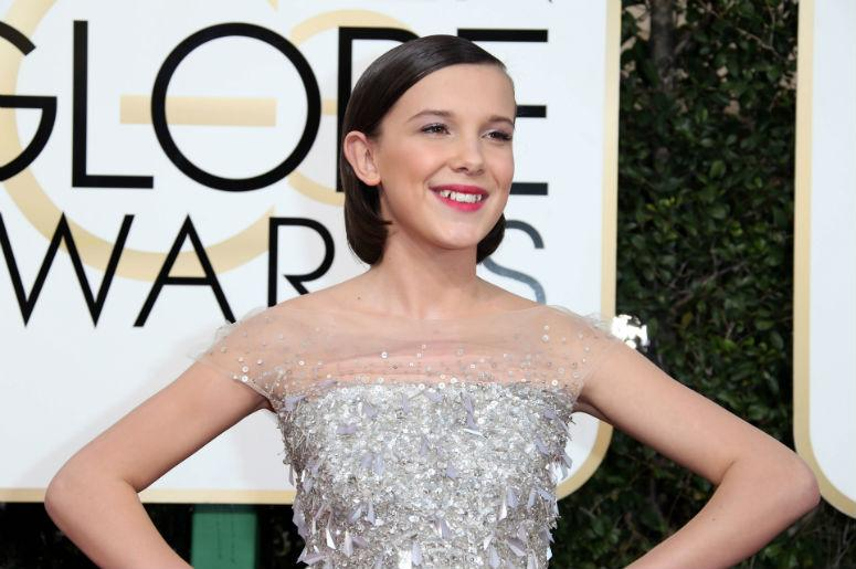 Millie Bobby Brown arrives for the 74th Golden Globe Awards at Beverly Hilton