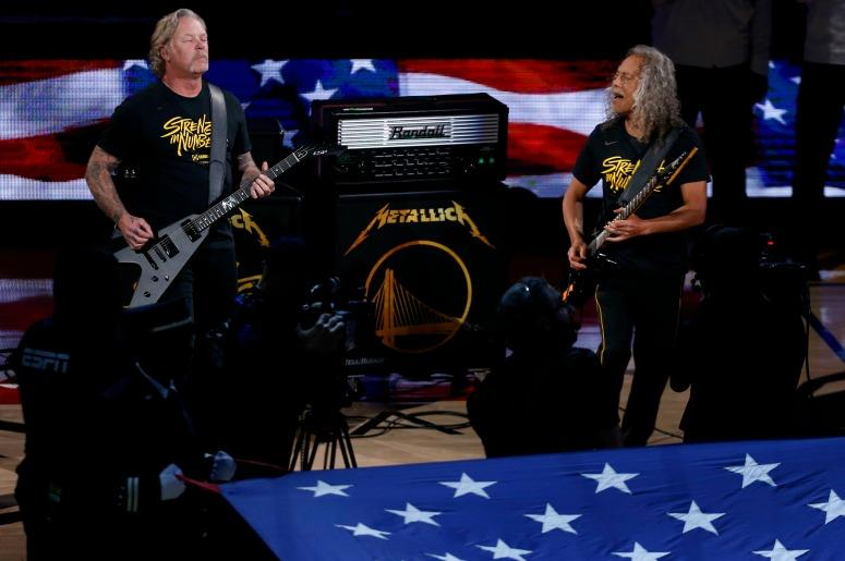 The American national anthem is performed by Metallica prior to game Three of the 2019 NBA Finals