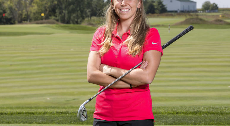 In this Sept. 7, 2017, photo provided by Iowa State University in Ames, Iowa, golfer Celia Barquin Arozamena poses for a photo