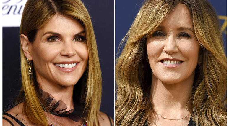 This combination photo shows actress Lori Loughlin and  left, and actress Felicity Huffman.  Both were charged with conspiracy to commit mail fraud and wire fraud in indictments unsealed Tuesday in federal court in Boston. (AP Photo)