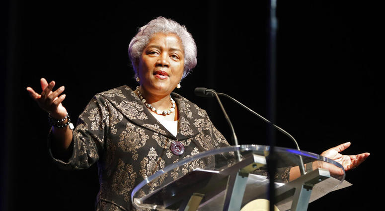 FILE - This May 7, 2018 file photo shows Donna Brazile speaking at the inauguration of New Orleans Mayor Latoya Cantrell in New Orleans.   (AP Photo/Gerald Herbert, File)