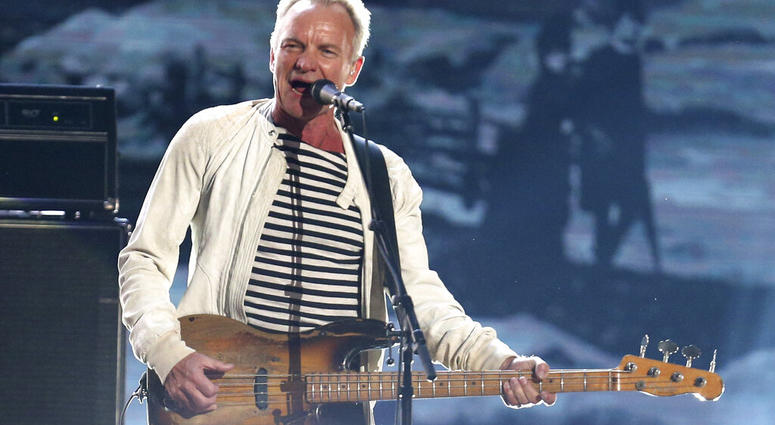 FILE - This Jan. 28, 2018 file photo shows Sting performing at the 60th annual Grammy Awards in New York. Sting is heading to Las Vegas to launch a residency next year. (Photo by Matt Sayles/Invision/AP, File)