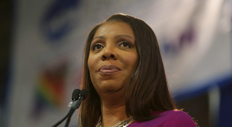 FILE - In this Sunday, Jan. 6, 2019 file photo, Attorney General of New York, Letitia James, speaks during an inauguration ceremony in New York.   (AP Photo/Seth Wenig, File)
