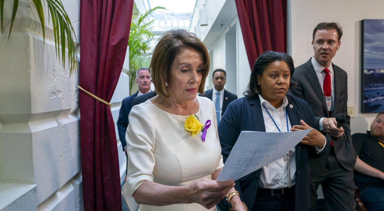 Speaker of the House Nancy Pelosi, D-Calif., departs a meeting with the Democratic Caucus where members heard from former CIA Director John Brennan about the situation in Iran. (AP Photo/J. Scott Applewhite)