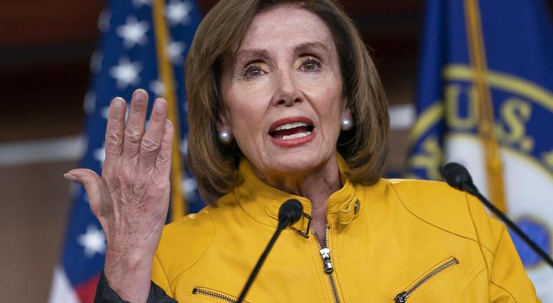 In this June 13, 2019 file photo, Speaker of the House Nancy Pelosi, D-Calif., speaks during a news conference on Capitol Hill in Washington.  (AP Photo/J. Scott Applewhite)