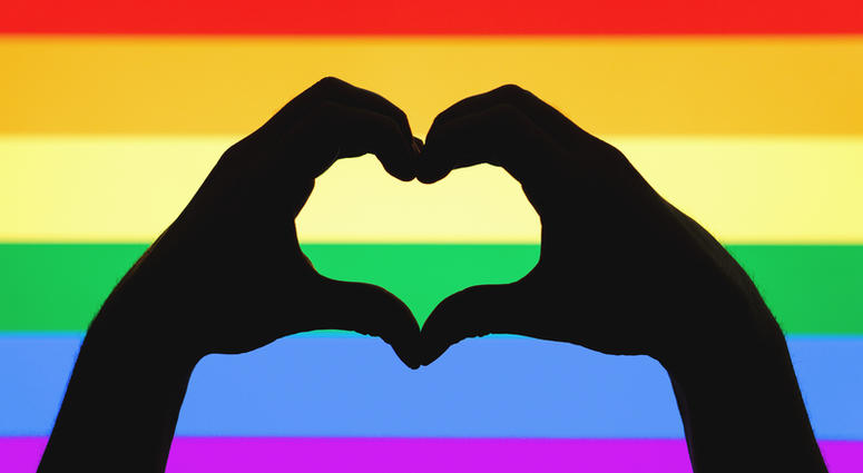 Hands showing heart sign on gay pride and LGBT rainbow flag.Tero Vesalainen | Dreamstime.com
