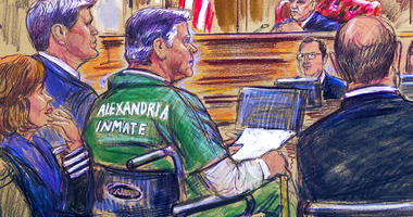 This March 7, 2019, courtroom sketch depicts former Trump campaign chairman Paul Manafort, center in a wheelchair, during his sentencing hearing in federal court before judge T.S. Ellis III in Alexandria, Va. (Dana Verkouteren via AP)