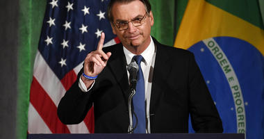 Brazilian President Jair Bolsonaro speaks at the Chamber of Commerce in Washington, Monday, March 18, 2019. (AP Photo/Susan Walsh)