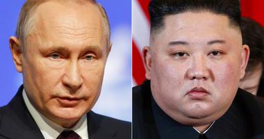 FILE - This combination file photo, shows Russian President Vladimir Putin, left, in St. Petersburg, Russia, April 9, 2019, and North Korean leader Kim Jong Un in Hanoi, Vietnam, on Feb. 28, 2019. (AP Photo/Dmitri Lovetsky, Evan Vucci, File)