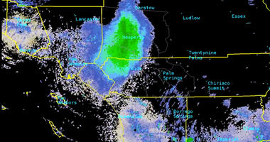 This Tuesday, June 4, 2019, image provided by National Weather Service radar shows a green mark that indicates a massive swarm of ladybugs over Southern California.  (National Weather Service via AP)