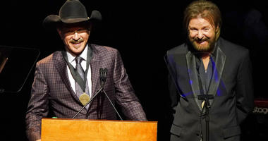 Kix Brooks, left, and Ronnie Dunn, right, speak after being inducted into the Country Music Hall of Fame at 2019 Medallion Ceremony at the Country Music Hall of Fame and Museum. (Photo by Sanford Myers/Invision/AP)