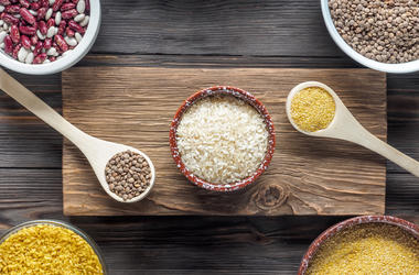 Set Traditional organic vegan ingredient Super Food in Middle East and Asian cooking cereals
