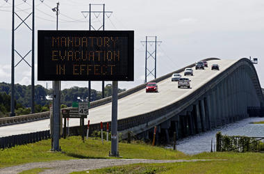 A sign posts a mandatory evacuation prior to Hurricane Florence in Emerald Isle N.C., Wednesday, Sept. 12, 2018.