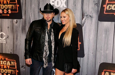 Recording artist Jason Aldean (L) and Brittany Kerr attend the 2014 American Country Countdown Awards at Music City Center on December 15, 2014 in Nashville, Tennessee