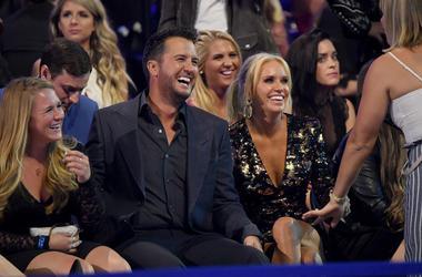 Luke Bryan and Caroline Boyer attend the 2018 CMT Music Awards at Bridgestone Arena on June 6, 2018 in Nashville, Tennessee