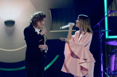 Brandi Carlile (L) and Maren Morris perform onstage during the 2018 CMT Artists of The Year