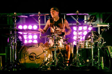 Travis Barker of blink-182 performs onstage at KROQ Weenie Roast 2018 at StubHub Center on May 12, 2018 in Carson, California