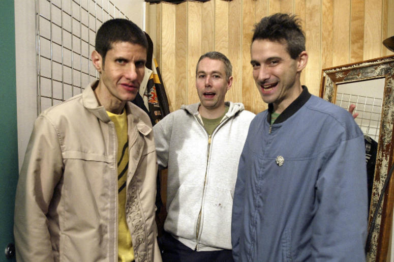 Rappers Michael Diamond 'Mike D', Adam Yauch 'MCA', and Adam Horovitz 'Ad-Rock' of the Beastie Boys pose in the dressing room before taping MTV's Direct Effect April 26, 2004