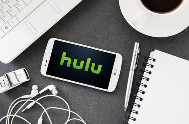 LG K10 with Hulu application laying on desk.