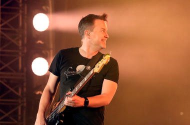 Mark Hoppus of blink-182 performs onstage at KROQ Weenie Roast 2018 at StubHub Center on May 12, 2018 in Carson, California.